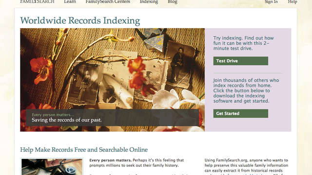 FamilySearch Indexing Website